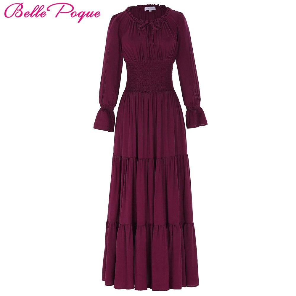 Belle Poque 2017 Medieval Dress Long Maxi Dresses Cotton Long Sleeve Gowns Victorian Gothic Vintage 50s Renaissance Boho Dress