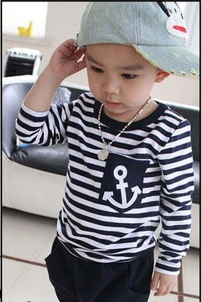 Hot Sale New 2016 Spring Kids Clothes, Navy Long Sleeve Pullover Striped Sports Suit, Casual Boys Clothing Set