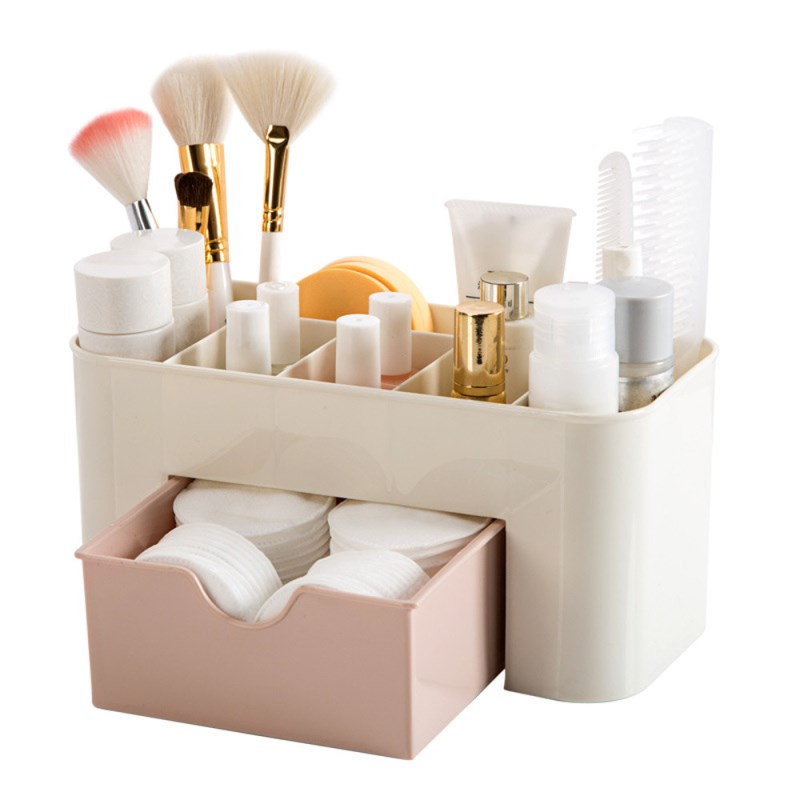 New Arrival Saving Space Desktop Comestics Plastic Makeup Storage Drawer Type Box Makeup Organizer Brush Organizer Box