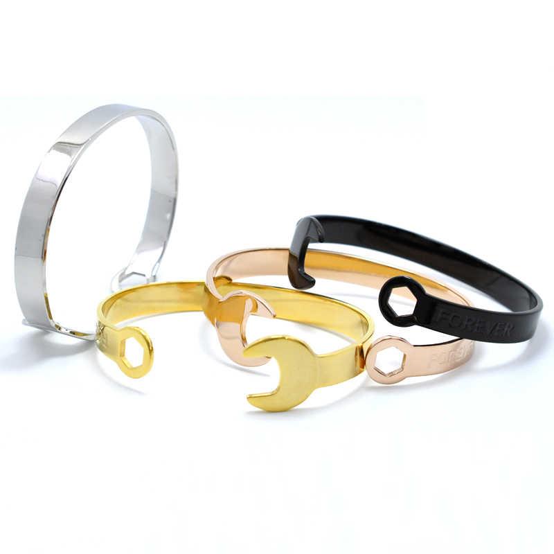 Cool bijoux Punk Vintage FOREVER timbre outils clé manchette Bracelets & Bracelets en acier inoxydable moteur Biker bracelet pour hommes cadeau