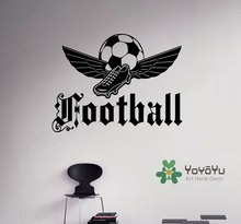 цена на Sports Football Emblem Wall Decal Soccer Ball Vinyl Sticker Kids Boys Room Home Wall  Bedroom Decor Art Vinyl Mural NY-154