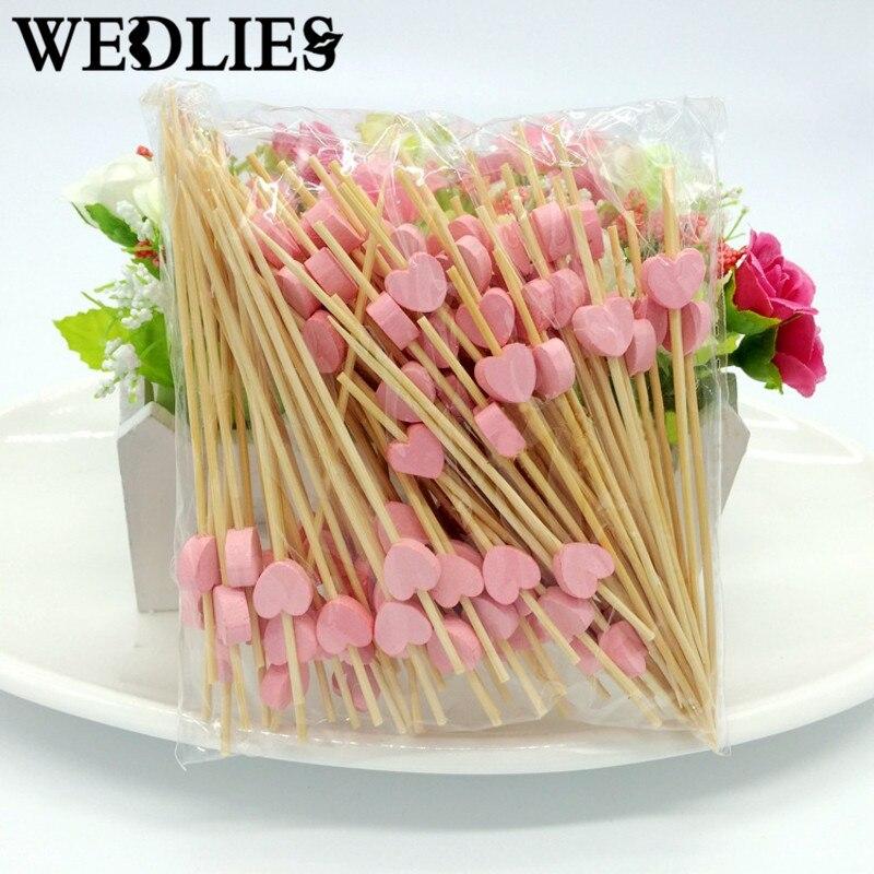 Selecciones de Comida Fruta Tenedor Palillos de bambú Del Corazón 12 cm 100 Unid
