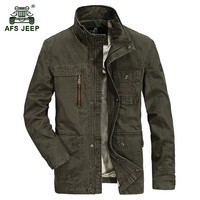 AFS JEEP Winter Thicken Warm Men S Military Casual Brand 100 Cotton Black Jacket Man Army
