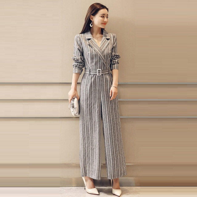 807d1c15782b Office Lady Work Wear Rompers Womens Jumpsuit Long Pants 2018 New Spring Fashion  Elegant striped Jumpsuits Wide leg pants suits