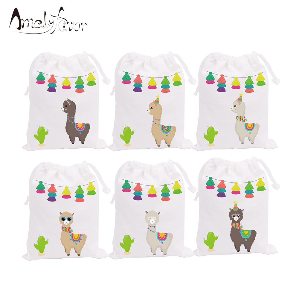 Alpaca Cactus Party Favor Bags Candy Bags Animals Theme Birthday Gift Bags Alpaca And Cactus Kids Birthday Party Supplies 6PCS