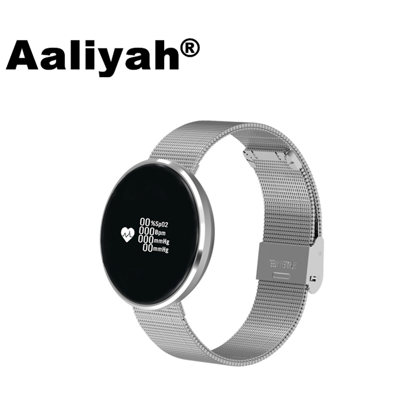 Aaliyah Smart Wristbands Watch Blood Oxygen Blood Pressure Heart Rate Monitor Round Bluetooth Fitness Bracelet