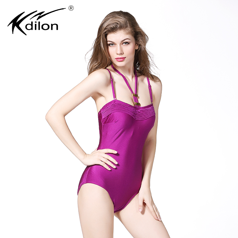Kdilon 2016 one piece swimsuit plus size swimwear maillot de bain large cup halter Strappy beach swimsuit Strings bathing suits plus size scalloped backless one piece swimsuit