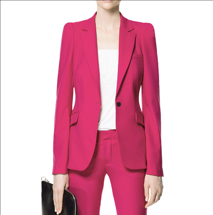 Hot Pink Pant Suits For Women Custom Made Ladies Business Suits