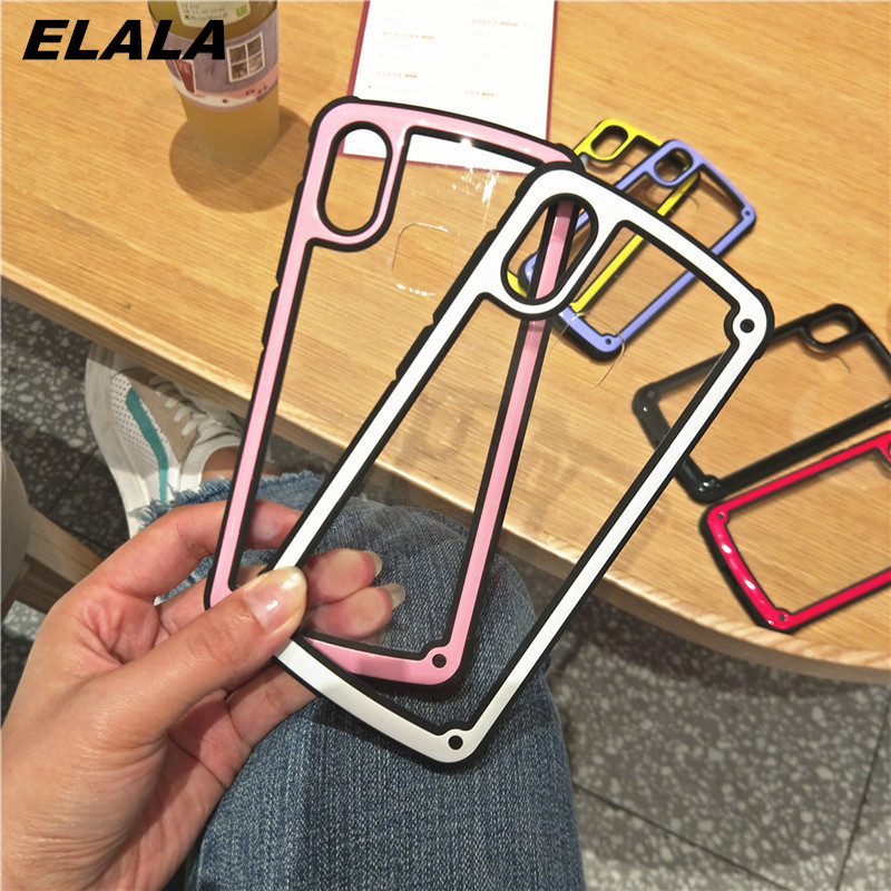 Shockproof Glass Case For iPhone XS 8 7 Plus Transparent Mobile Phone Housing For iPhone 6 6S Plus X XS Silicone Case Cover Capa