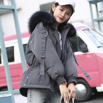 Large Real Raccoon Fur 2019 Women Winter Jacket Hooded Warm Female White Duck Down Jacket Medium Long Parkas Loose Women Coat 5