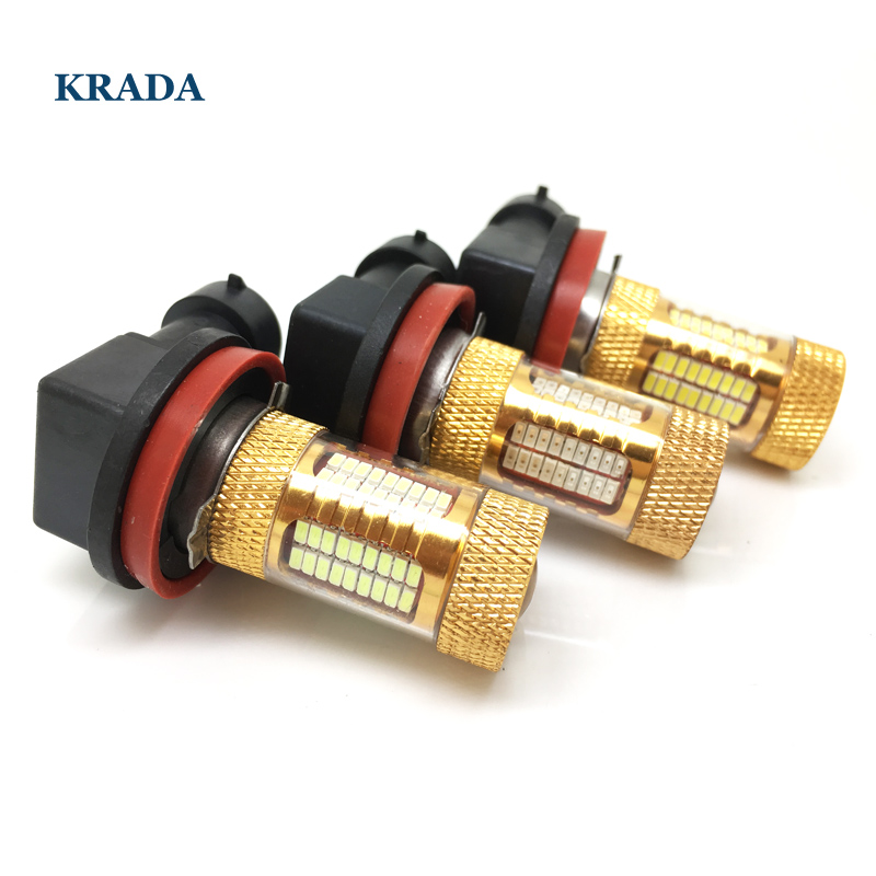 KRADA 2x car led canbus 100w bulbs H8 H11 9006/HB4 9005/HB3 H10 LED Fog Light Fog bulb Lamp DRL Headlight light 6000k white 12v