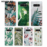 MOUGOL Tropical Banana Leaf rose flowerPattern Clear hard Phone Case Cover for Samsung Galaxy Note8 Note5 S8 S8Plus S6 S7 edge S