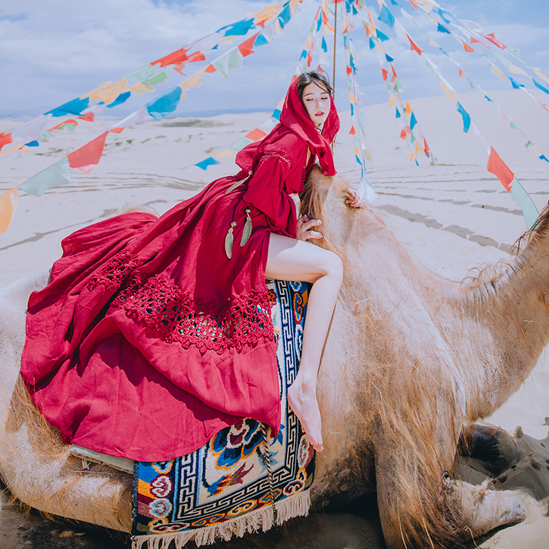 Vin Rouge Rétro Vintage Maxi Robe Automne À Capuche Manche Longue Coton Crochet Boho Hippie Gitane Split Sexy Femmes Robes Ethniques nouveau