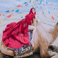 Wine Red Retro Vintage Maxi Dress Autumn Hooded Long Sleeve Cotton Crochet Boho Hippie Gypsy Split Sexy Women Ethnic Dresses New