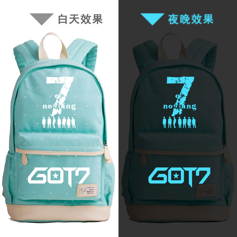 Summer Style Candy Color Women Backpack Hip-pop Got7 Prinitng Backpack Canvas School Bags Rucksack Laptop Backpack Travel Bags