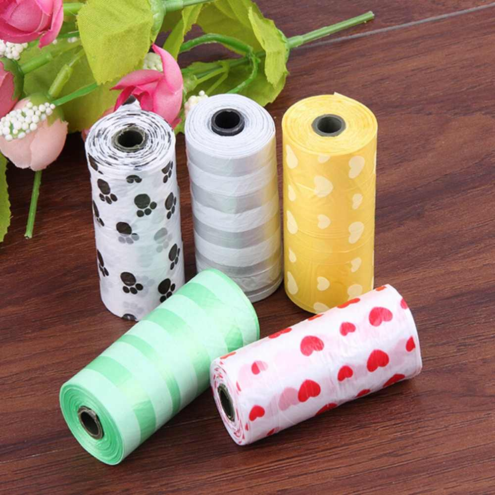 1 rotolo = 15PCS di vendita caldo Degradabile Pet Dog Poop Waste Bag Con Stampa Doggy Bag