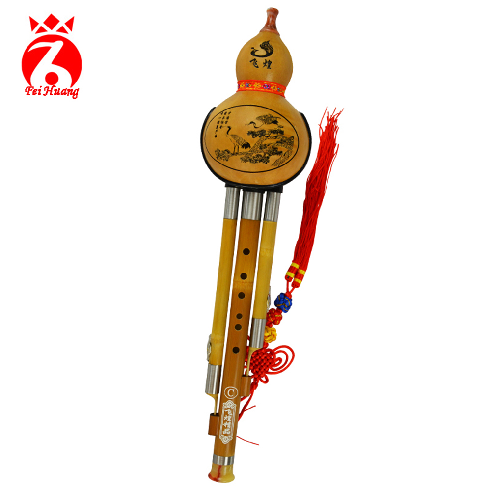 купить Chinese Hulusi Yunnan Traditional Instrument Natural Gourd Cucurbit Flute Musical Instrument Bamboo Instrument Key C Bb Tone F05