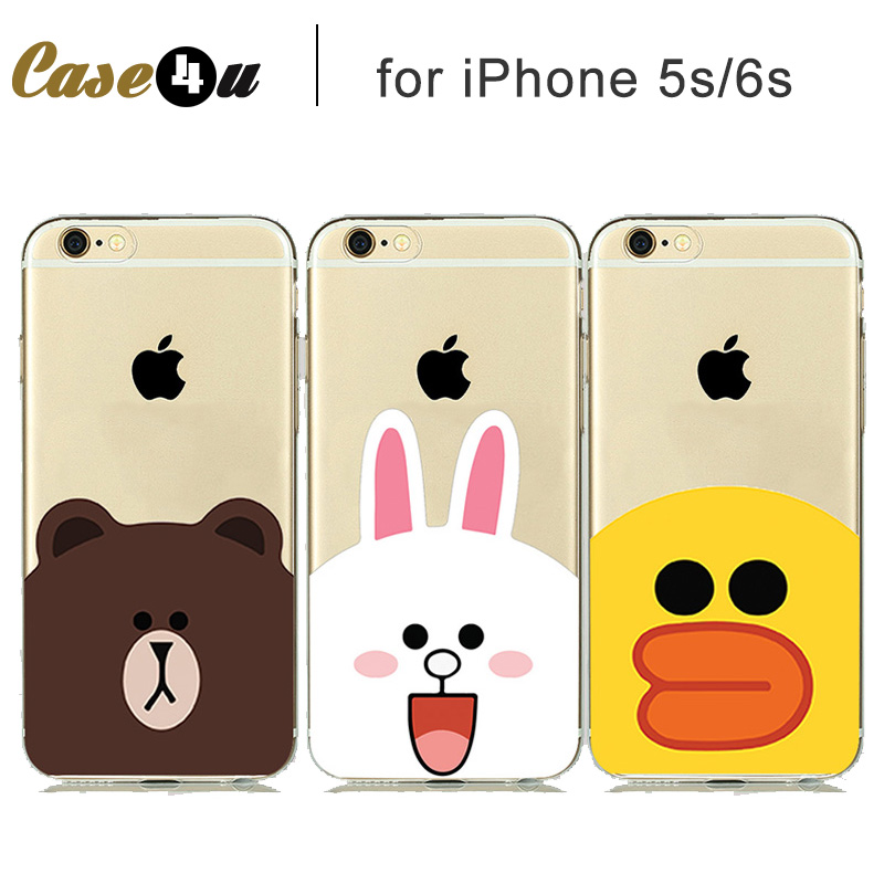 Lovely Color Print Ultra Slim Clear Soft TPU Silicone Gel Skin Case For capinha iPhone 5 5s 6 6s Cony Brown Duck Printed Coque