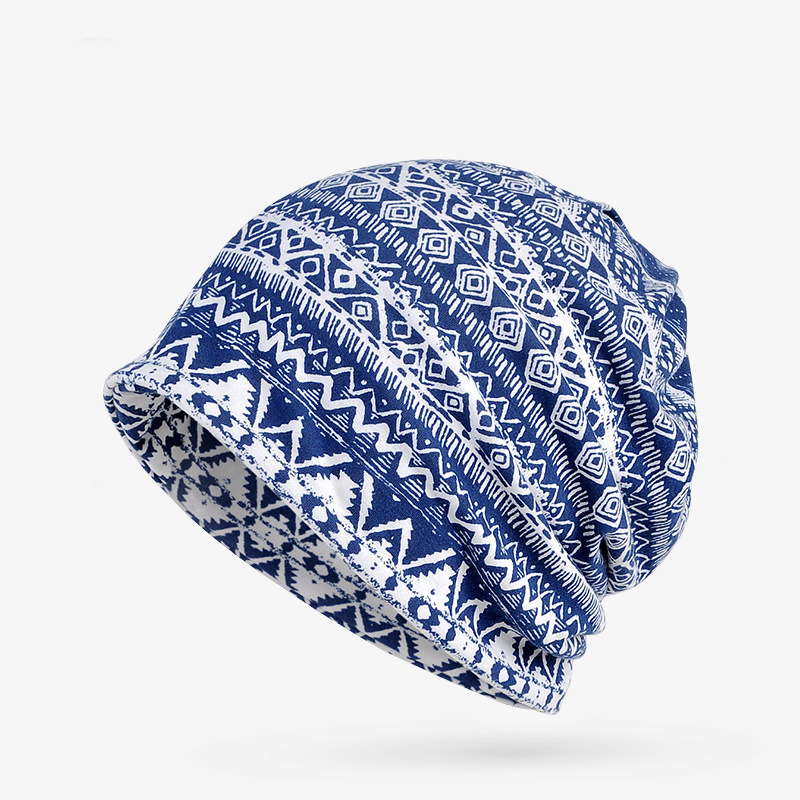 A new set of head cap cotton scarf dual-purpose male and female geometric pattern of Baotou hat a cat a hat and a piece of string