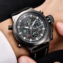 Północna marka zegarka mężczyzna sporta zegarki podwójny wyświetlacz analogowy cyfrowy LED elektroniczny zegarek z kwarcu wodoodporne pływanie wojskowe zegarki w Zegarki kwarcowe od Zegarki na