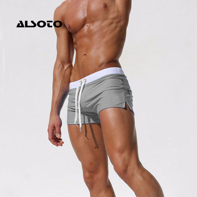 ALSOTO Summer Swimwear Men Breathable Men's Swimsuits Trunks Boxer Briefs Sunga SwimSuits Maillot De Bain Beach Shorts 2020 New 2