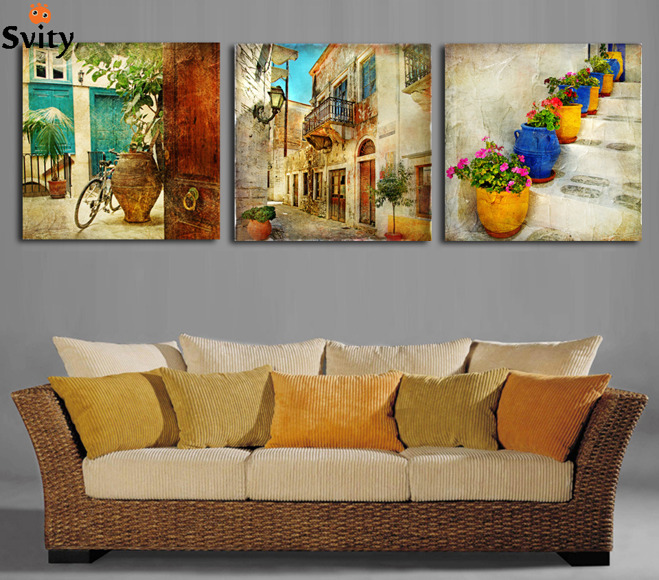 Free shipping 3 panels oil canvas paintings gardening home for Art for house decoration