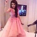 Мода бисероплетение oraib hamdan платья знаменитостей высокий низкий розовый органза красной ковровой дорожке платья с v-образным паффи халат де вечер