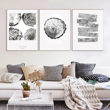 North European Living Room Background Wall Tree Ring Decoration Painting Plant Wood Ink