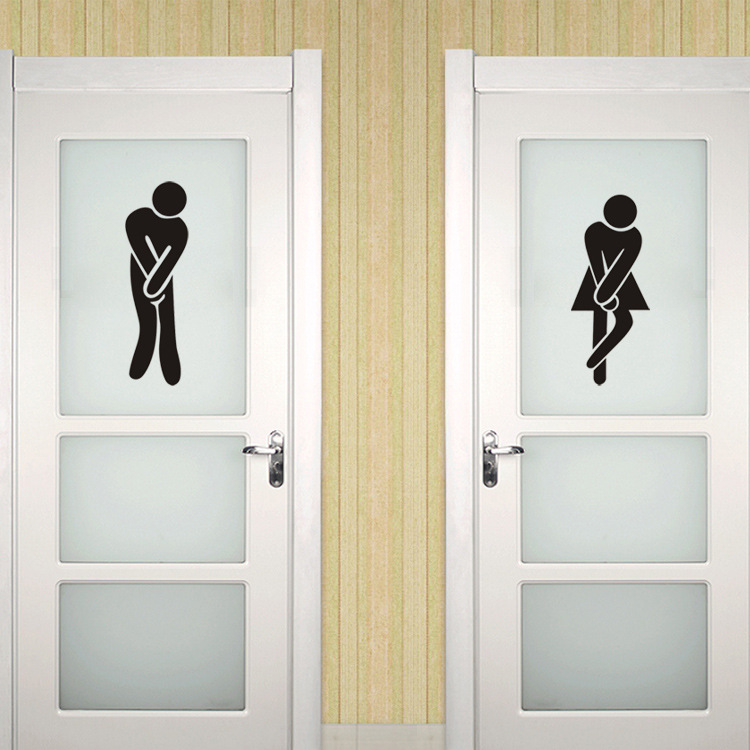 Toilet wall stickers home decor wc funny toilet entrance for Decoration toilette