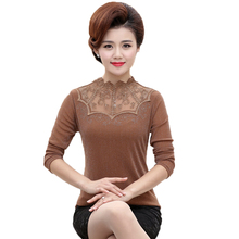 WAEOLSA Women Sequined Blouse Khaki Black Top Lace Neck Tunic Middle Aged Womans Spring Blouses Mother Classy Slim Fit Tops Lady