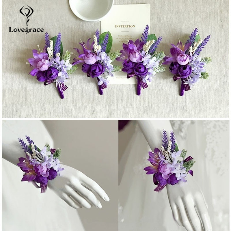 Lovegrace Wedding Elastic Wrist Corsages And Boutonniere Silk Rose Flower Lapel Homme Mariage Decoration Bouquet For Prom Props