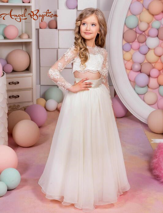 New arrival ivory two pieces A-line flower girl dress with illusion laces long sleeves for junior bridesmaid wedding occasion