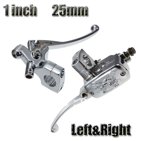 1 Pair Universal Chrome 1 Motorcycle Handlebar Brake Master Cylinder Clutch Lever Set