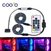 SMD 5050 DC12V RGB Dải Dây Đèn LED Ánh Sáng Linh Hoạt 60 LED/M 2 Set Cho Máy Tính Máy Tính với Giao Diện SATA + 1 Đến 2 Cáp