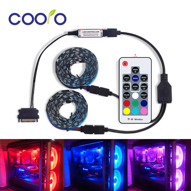 SMD 5050 DC12V RGB Strip LED Strip Flexible Light 60leds/m 2PCS Set for PC Computer Case with SATA Interface+1 to 2 Cable