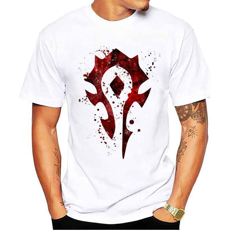 Horde Splatter Casual Short Sleeve Men Summer T-shirts Male Print T Shirt Round Neck Tees
