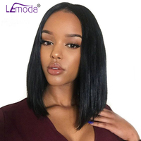 LeModa Short BOB Lace Front Human Hair Wigs For Black Woman Glueless Pre Plucked Straight Hair Wig With Baby Hair Remy Hair Wigs