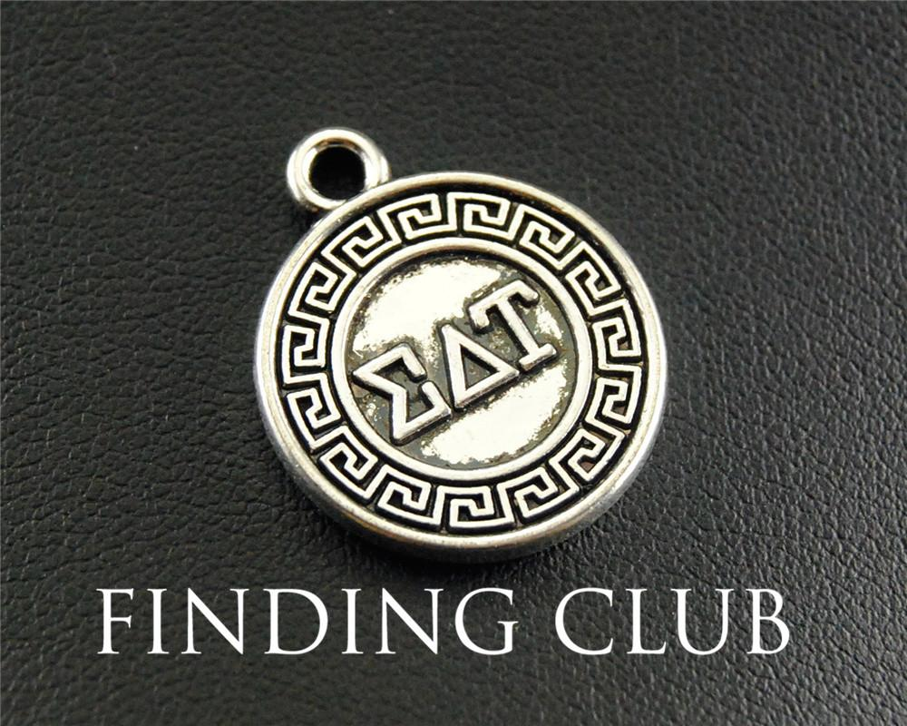 free shipping 15pcs antique silver greek letter eat round charm pendant jewelry making diy handmade craft