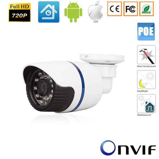 CCTV 720P/960P/1080P Waterproof Outdoor IR Cut Night Vision Security Network IP 48V POE  Bullet Camera Power Over Ethernet-xmeye wistino cctv bullet ip camera xmeye waterproof outdoor 720p 960p 1080p home surverillance security video monitor night vision