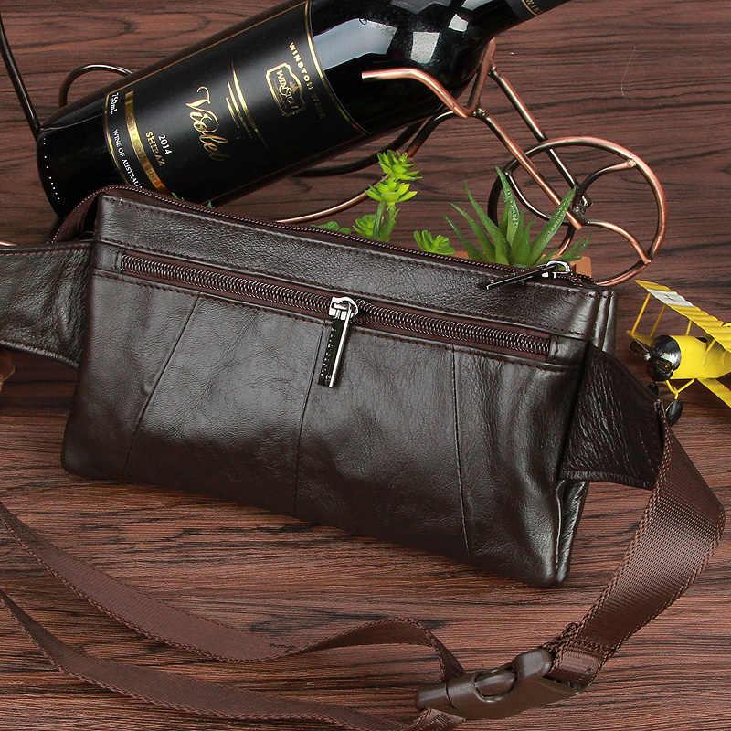 GOUD KORAAL Echt Lederen Riem Taille Tassen Voor Mannen Telefoon Bag Purse Pocket Mannelijke Vintage Fanny Pack Geld Pouch Card sleutels Houder