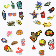 hot deal buy food hamburgers drinks patchwork patch embroidered patches for clothing iron-on for close shoes bags badges embroidery