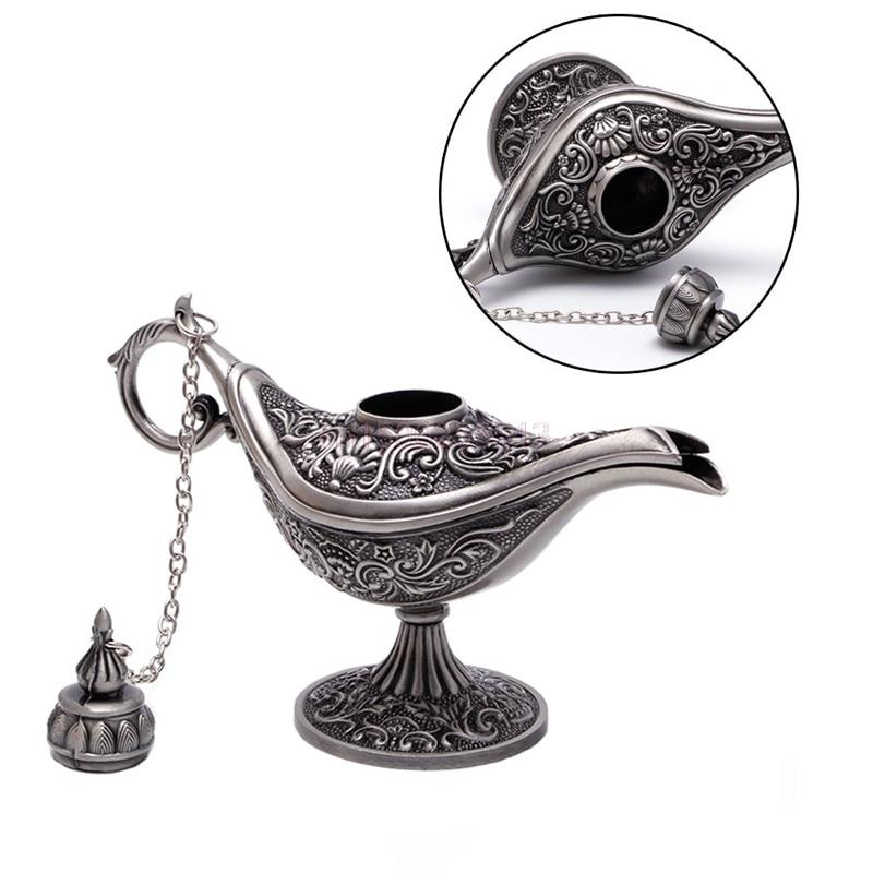 1PC Hollow Carved Aladdin Genie Oil Lamp Zinc Alloy Metal Vintage Pot Arabian Light