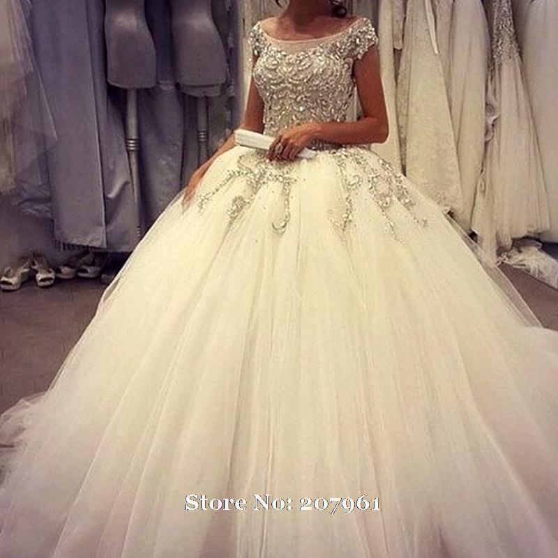 New scoop ball gown wedding dresses 2017 tulle appliques for Ball gown wedding dresses 2017