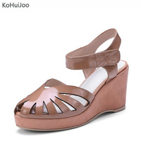 KoHuiJoo 2018 Summer Patent Leather Sandals Women Solid Hollow Round Pointe Toe Fashion Brand High Heels