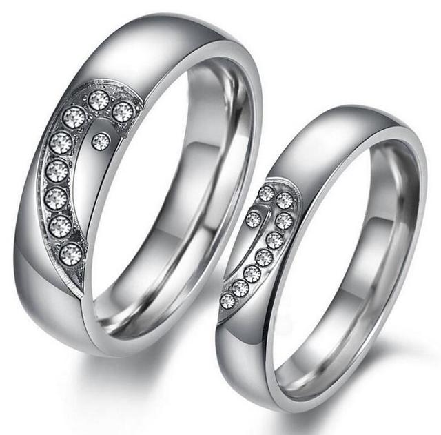 Fashion Jewelry Puzzle Heart Couple Rings Crystal Stainless Steel