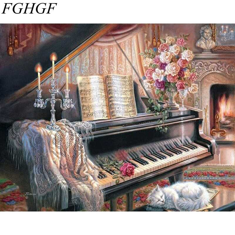FGHGF Frameless Wall Art Home Decor x Flower Pictures Painting By Numbers DIY Digital Oil Painting On Wall