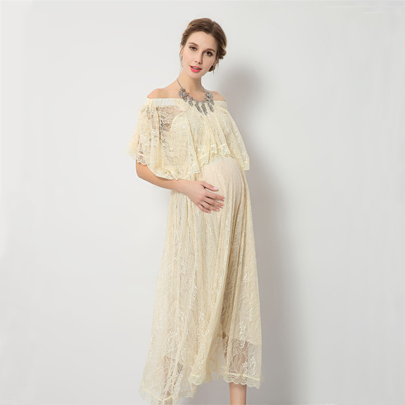 High Quality Maternity Dress For Baby Showers Lace Pregancy Dress For Photo  Shoot Shoulerless Maternity Phototgraphy