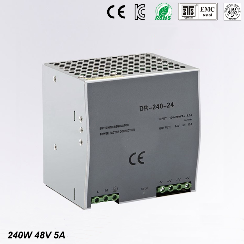 Din rail Single Output Switching power supply 48v 240w DR-240-48 240W 48V 5A ac dc converter dr 240 din rail power supply 240w 48v 5a switching power supply ac 110v 220v transformer to dc 48v ac dc converter