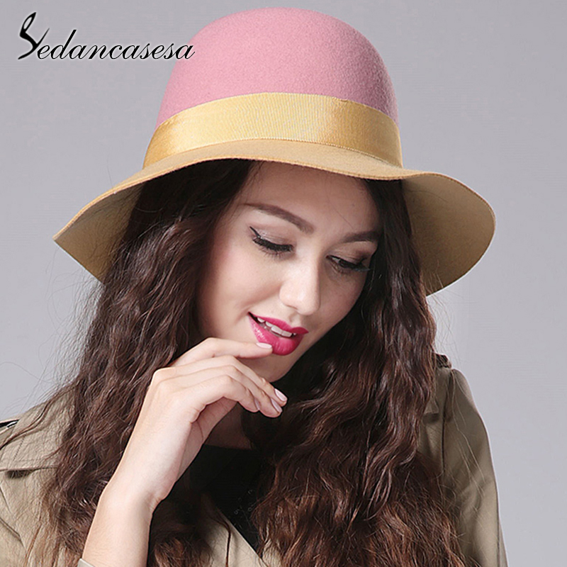 Audacious Sedancasesa Autumn Winter Jazz Hat Female England Style Patchwork Wide Brim Caps 100% Quality Australia Wool Felt Fedoras Hats New Varieties Are Introduced One After Another
