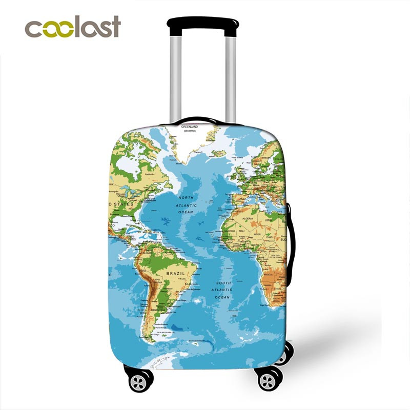 World Map Print Luggage Cover Travel Accessories Elastic Men Women Suitcase Protective Covers For 18-32 Inch Trolley Case Bag